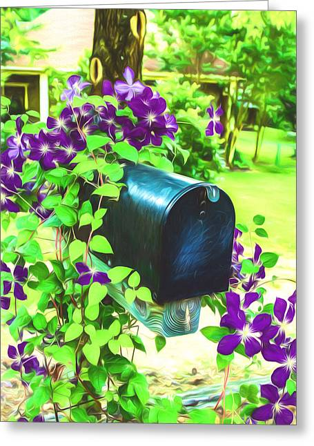 Floral Digital Art Greeting Cards - Clematis On The Mailbox - Digital Painting Greeting Card by Barry Jones