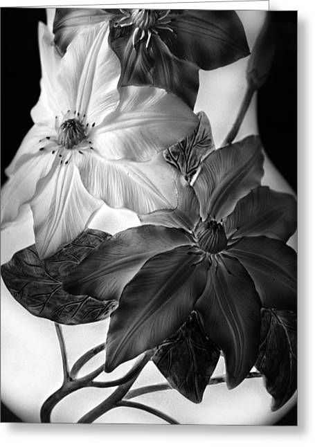 Clematis Overlay Greeting Card by Jessica Jenney