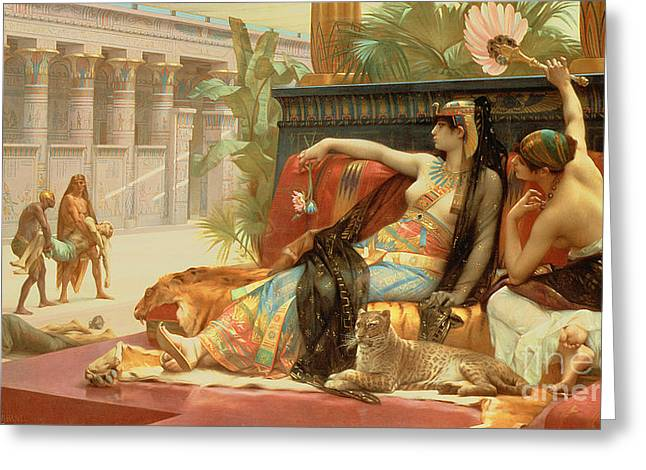 Recently Sold -  - Sit-ins Greeting Cards - Cleopatra Testing Poisons on Those Condemned to Death Greeting Card by Alexandre Cabanel