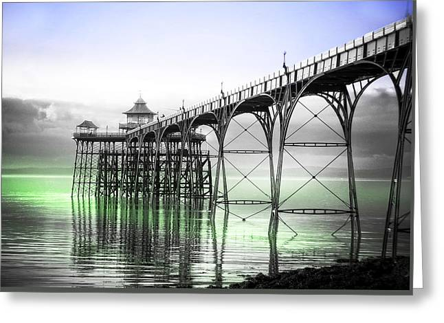 Clevedon Pier Greeting Card by Alex Hardie
