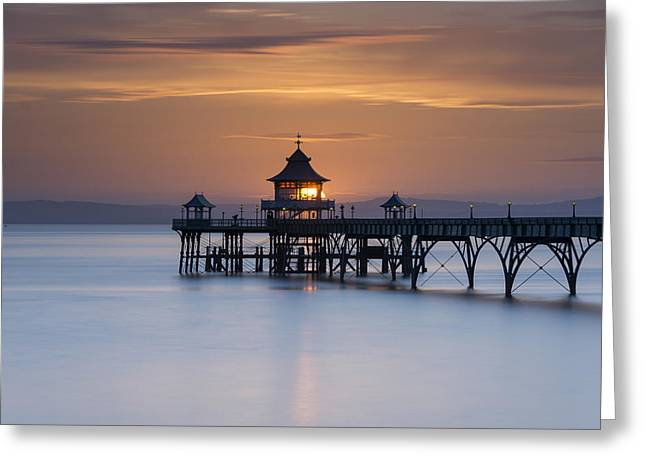 Clevedon Pier Sunset Greeting Card by Carolyn Eaton