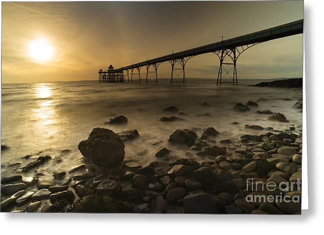 Clevedon Pier Sunset  Greeting Card by Rob Hawkins