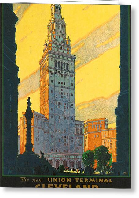 Terminal Greeting Cards - Cleveland - Vintage Travel Greeting Card by Nomad Art And  Design