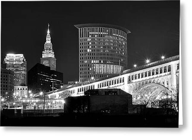 Theater Greeting Cards - Cleveland Black and White Panoramic Greeting Card by Frozen in Time Fine Art Photography