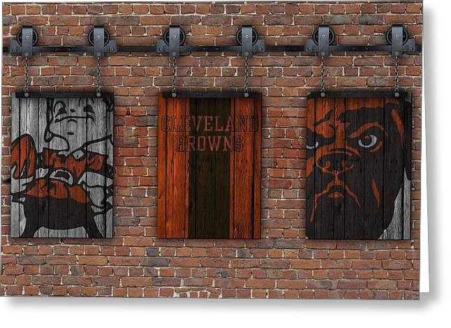 Cleveland Browns Greeting Cards - Cleveland Browns Brick Wall Greeting Card by Joe Hamilton