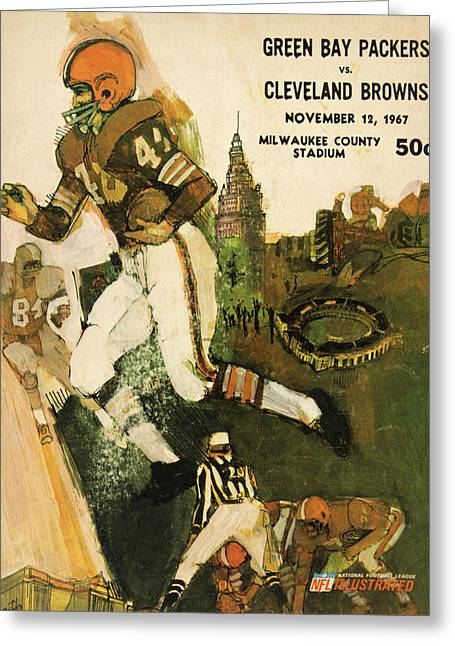 Cleveland Browns Greeting Cards - Cleveland Browns Vintage Program 2 Greeting Card by Joe Hamilton