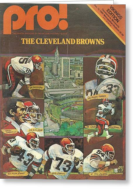 Brown Poster Greeting Cards - Cleveland Browns Vintage Program 3 Greeting Card by Joe Hamilton