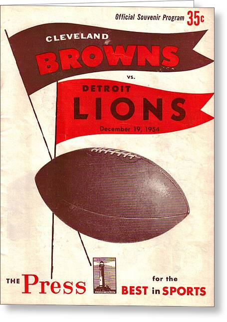 Brown Poster Greeting Cards - Cleveland Browns Vintage Program 4 Greeting Card by Joe Hamilton
