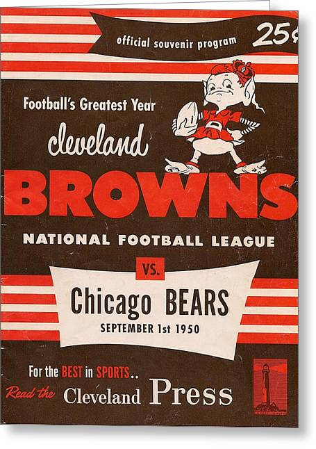 Brown Poster Greeting Cards - Cleveland Browns Vintage Program 5 Greeting Card by Joe Hamilton