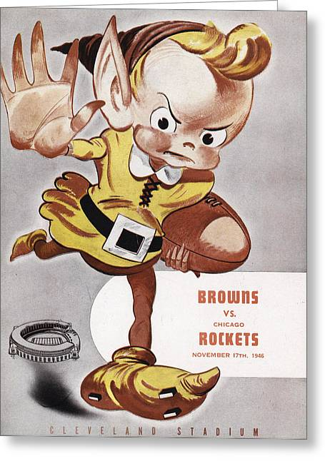 Cleveland Browns Greeting Cards - Cleveland Browns Vintage Program Greeting Card by Joe Hamilton