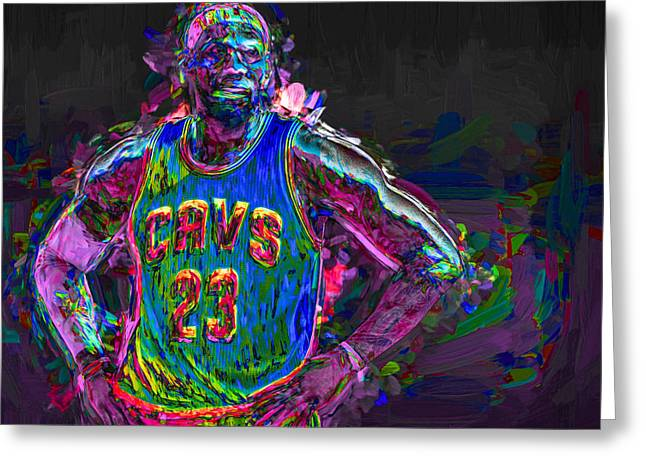Cleveland Cavaliers King Lebron James Painted Mix 2 Greeting Card by David Haskett