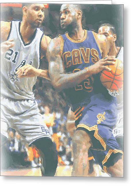 Cleveland Cavaliers Lebron James 4 Greeting Card by Joe Hamilton