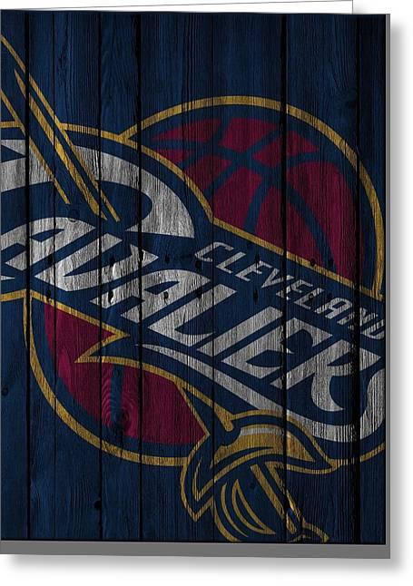 Cleveland Cavaliers Wood Fence Greeting Card by Joe Hamilton