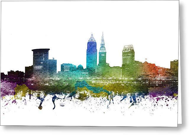 Skylines Drawings Greeting Cards - Cleveland Cityscape 01 Greeting Card by Aged Pixel