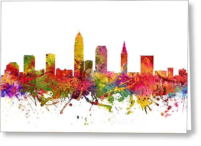 Cleveland Skyline Greeting Cards - Cleveland Cityscape 08 Greeting Card by Aged Pixel