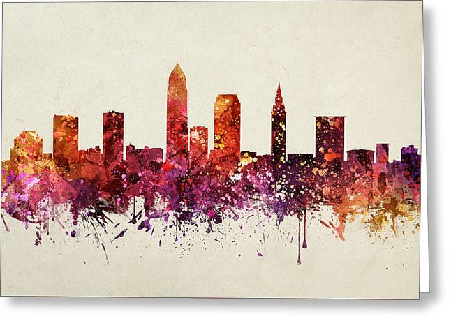 Cleveland Skyline Greeting Cards - Cleveland Cityscape 09 Greeting Card by Aged Pixel