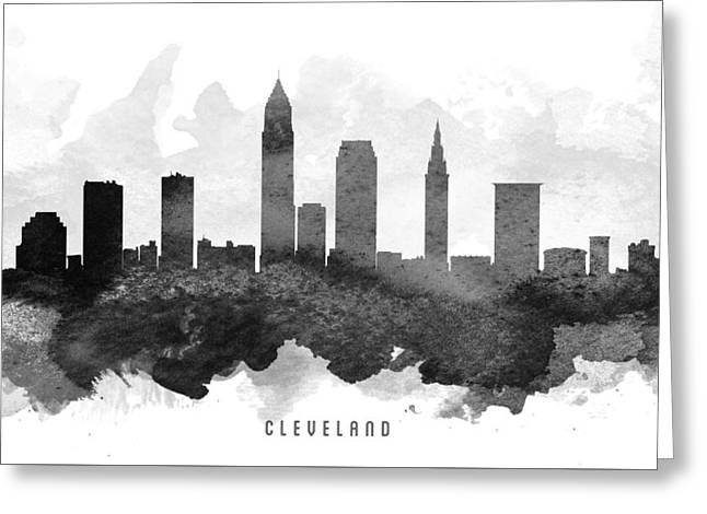 Cleveland Skyline Greeting Cards - Cleveland Cityscape 11 Greeting Card by Aged Pixel