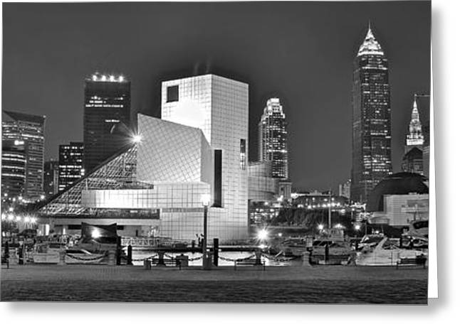 White Photographs Greeting Cards - Cleveland Iconic Lakefront Panorama Greeting Card by Frozen in Time Fine Art Photography