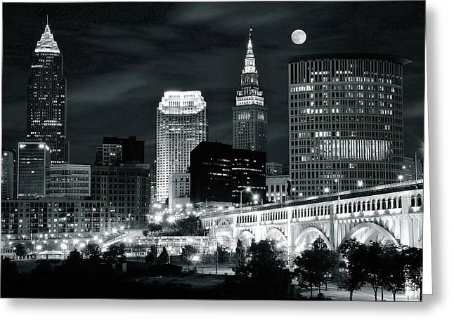 Cleveland Iconic Night Lights Greeting Card by Frozen in Time Fine Art Photography