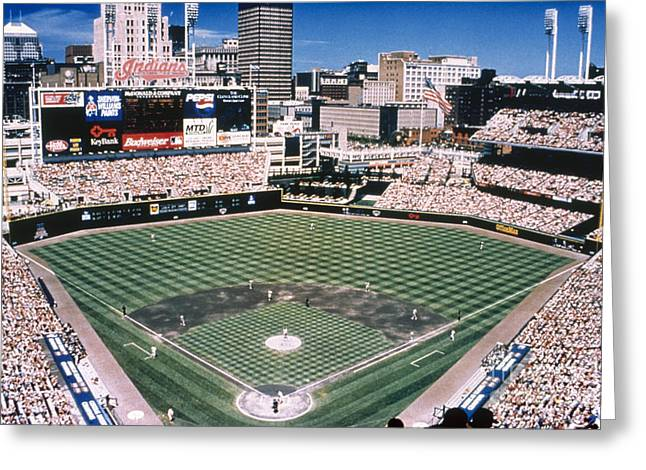 Baseball Photographs Greeting Cards - Cleveland: Jacobs Field Greeting Card by Granger