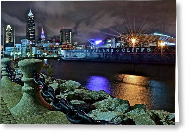 1234 Greeting Cards - Cleveland Lakefront at Night Greeting Card by Frozen in Time Fine Art Photography