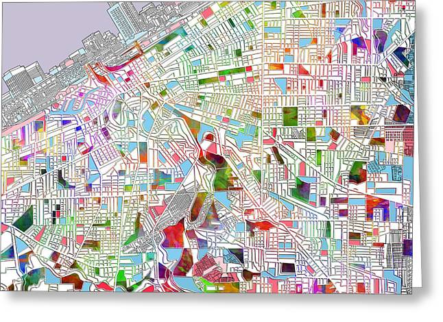 Recently Sold -  - Abstract Digital Greeting Cards - Cleveland map 2 Greeting Card by MB Art factory