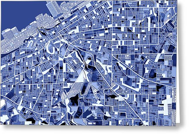 Mosiac Greeting Cards - Cleveland map blue Greeting Card by MB Art factory