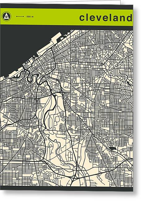 Abstract Map Greeting Cards - Cleveland Map Greeting Card by Jazzberry Blue