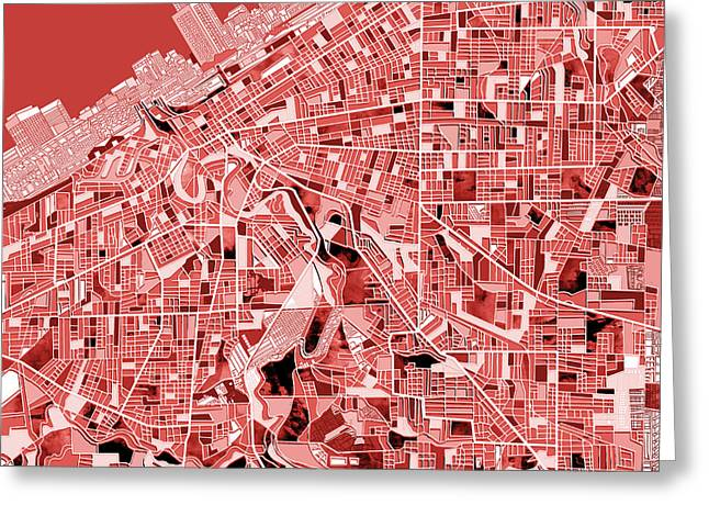 Mosiac Greeting Cards - Cleveland map red Greeting Card by MB Art factory