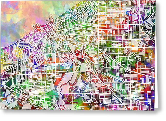 Mosiac Greeting Cards - Cleveland map watercolor 2 Greeting Card by MB Art factory