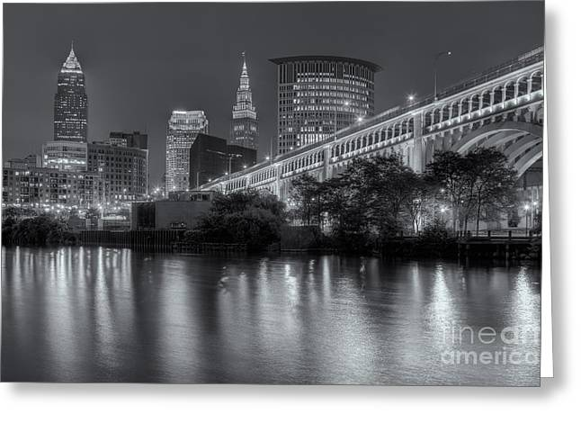 Cuyahoga River Greeting Cards - Cleveland Night Skyline III Greeting Card by Clarence Holmes