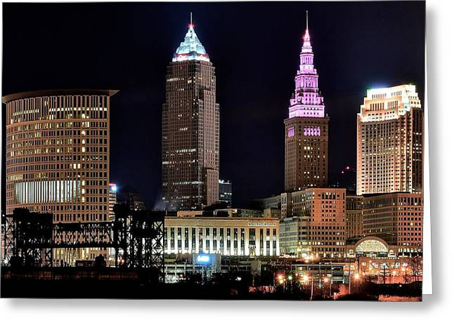 Progressive Field Greeting Cards - Cleveland Nightscape Greeting Card by Frozen in Time Fine Art Photography