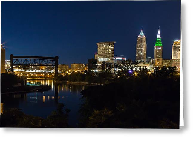 Illuminate Greeting Cards - Cleveland Nightscpae Panoramic Greeting Card by Dale Kincaid