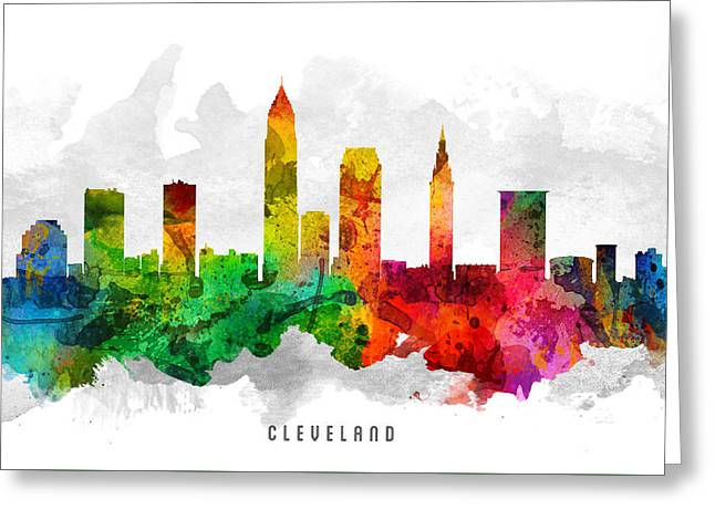 Cleveland Ohio Cityscape 12 Greeting Card by Aged Pixel