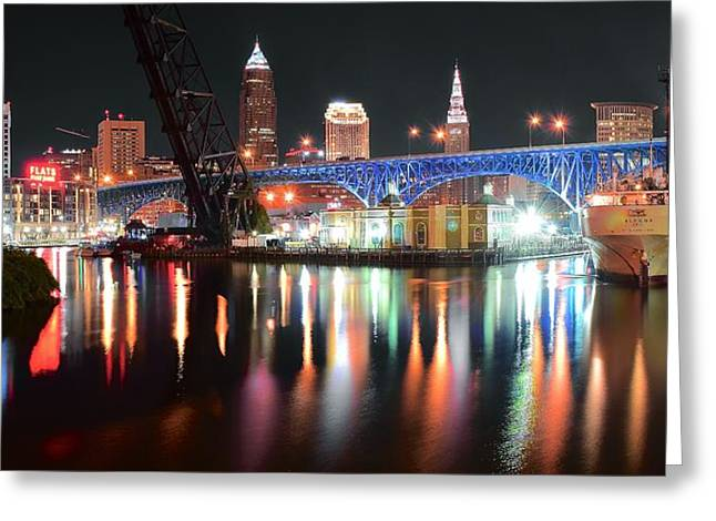 Pot Boat Greeting Cards - Cleveland Ohio in Black and Color Greeting Card by Frozen in Time Fine Art Photography