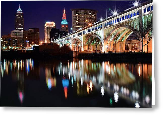 Theater Town Greeting Cards - Cleveland Ohio Skyline Greeting Card by Frozen in Time Fine Art Photography
