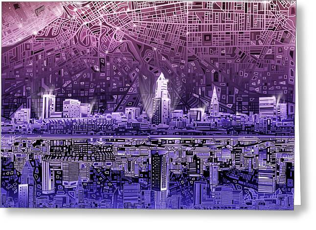 Hitech Greeting Cards - Cleveland Skyline Abstract Greeting Card by MB Art factory