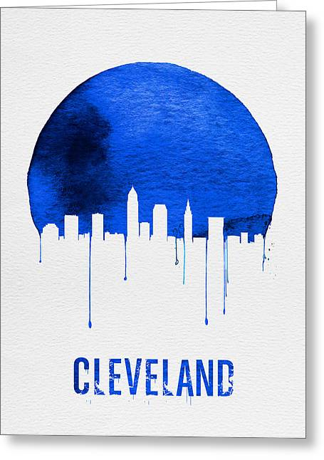 Cleveland Skyline Blue Greeting Card by Naxart Studio