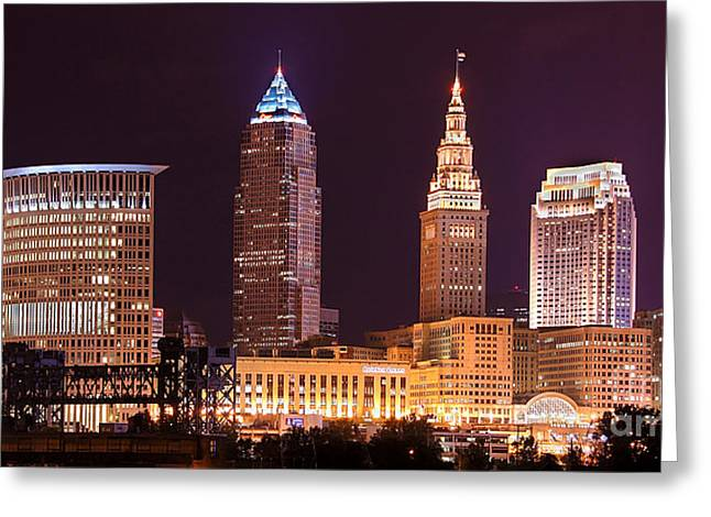 Cleveland Skyline Greeting Cards - Cleveland Skyline NIGHT Color - Downtown Buildings Greeting Card by Jon Holiday
