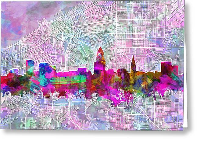 Hitech Greeting Cards - Cleveland Skyline Watercolor Greeting Card by MB Art factory