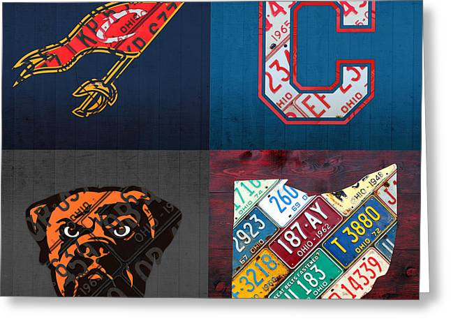Cleveland Sports Fan Recycled Vintage Ohio License Plate Art Cavaliers Indians Browns And State Map Greeting Card by Design Turnpike