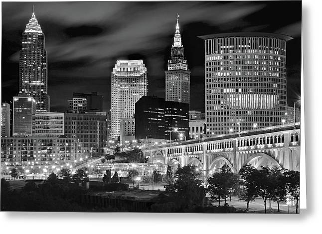 Veterans Stadium Greeting Cards - Clevelands Twin Towers Greeting Card by Frozen in Time Fine Art Photography