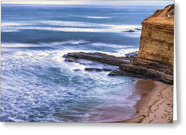 Recently Sold -  - California Ocean Photography Greeting Cards - Cliff and Sea Greeting Card by Joseph S Giacalone