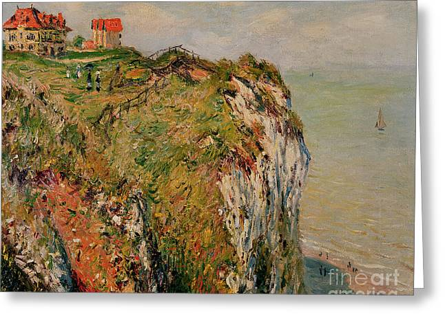 Cliffs Paintings Greeting Cards - Cliff at Dieppe Greeting Card by Claude Monet