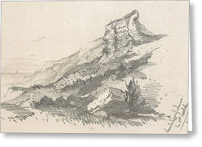 Sea Shore Drawings Greeting Cards - Cliff at Sainte Adresse Greeting Card by Claude Monet