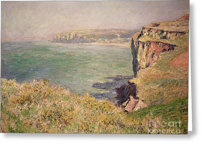 Calm Waters Paintings Greeting Cards - Cliff at Varengeville Greeting Card by Claude Monet