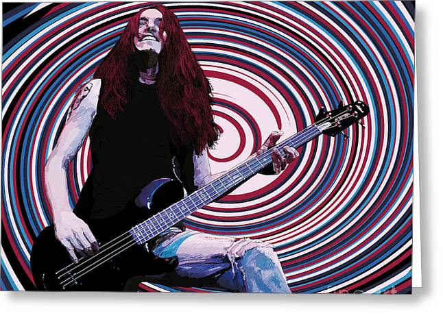 Metallica Drawings Greeting Cards - Cliff Burton Greeting Card by Kevin Sweeney