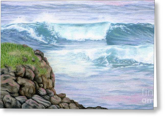 Cliff By The Sea Greeting Card by Sarah Batalka