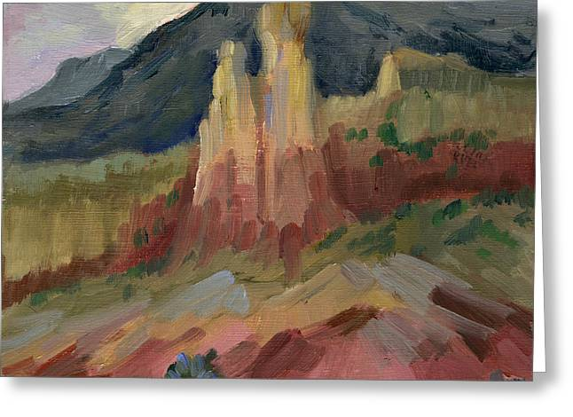 Cliffs Paintings Greeting Cards - Cliff Chimneys at Georgia OKeeffes Ghost Ranch Greeting Card by Diane McClary