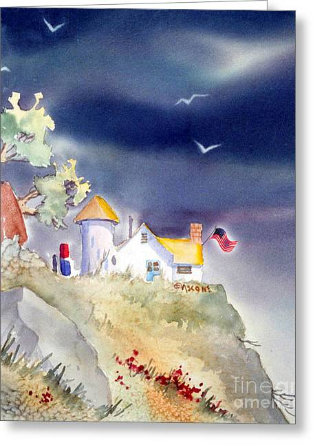 Flag Of Usa Greeting Cards - Cliff Cottages with Flag Greeting Card by Teresa Ascone